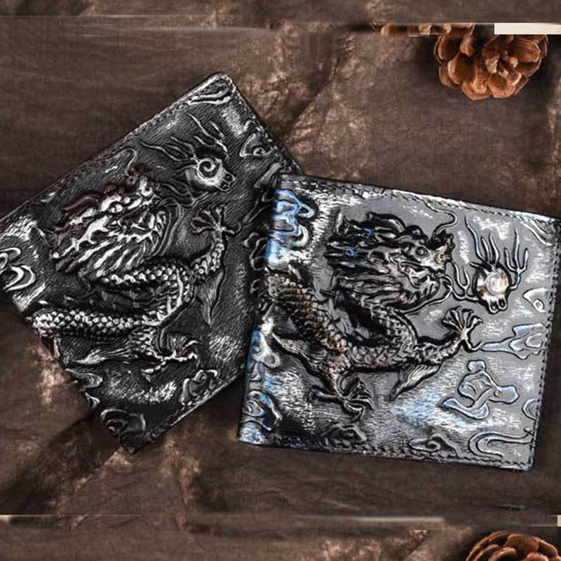Natural Skin Wallet Dragon Pattern Cash Clip Men Genuine Leather