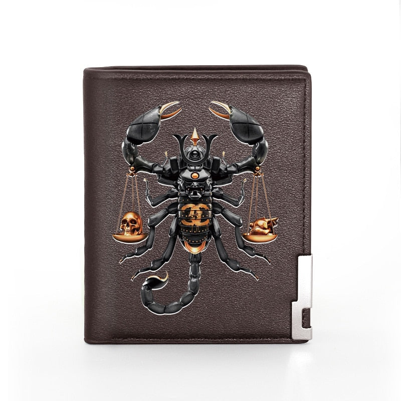 High Quality Cool Personality Scorpion  Printing Pu Leather Men Bifold Wallet