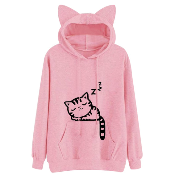 Women Kawaii Pink Winter Cat Pattern Long Sleeve Hoodie