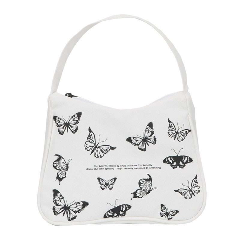 Women Small Handbag Butterfly Print Canvas Cotton Cloth Purse