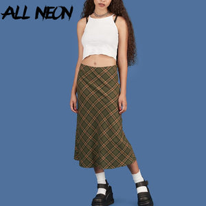 Plaid High Waist Mermaid Skirts Women Streetwear Cotton Long