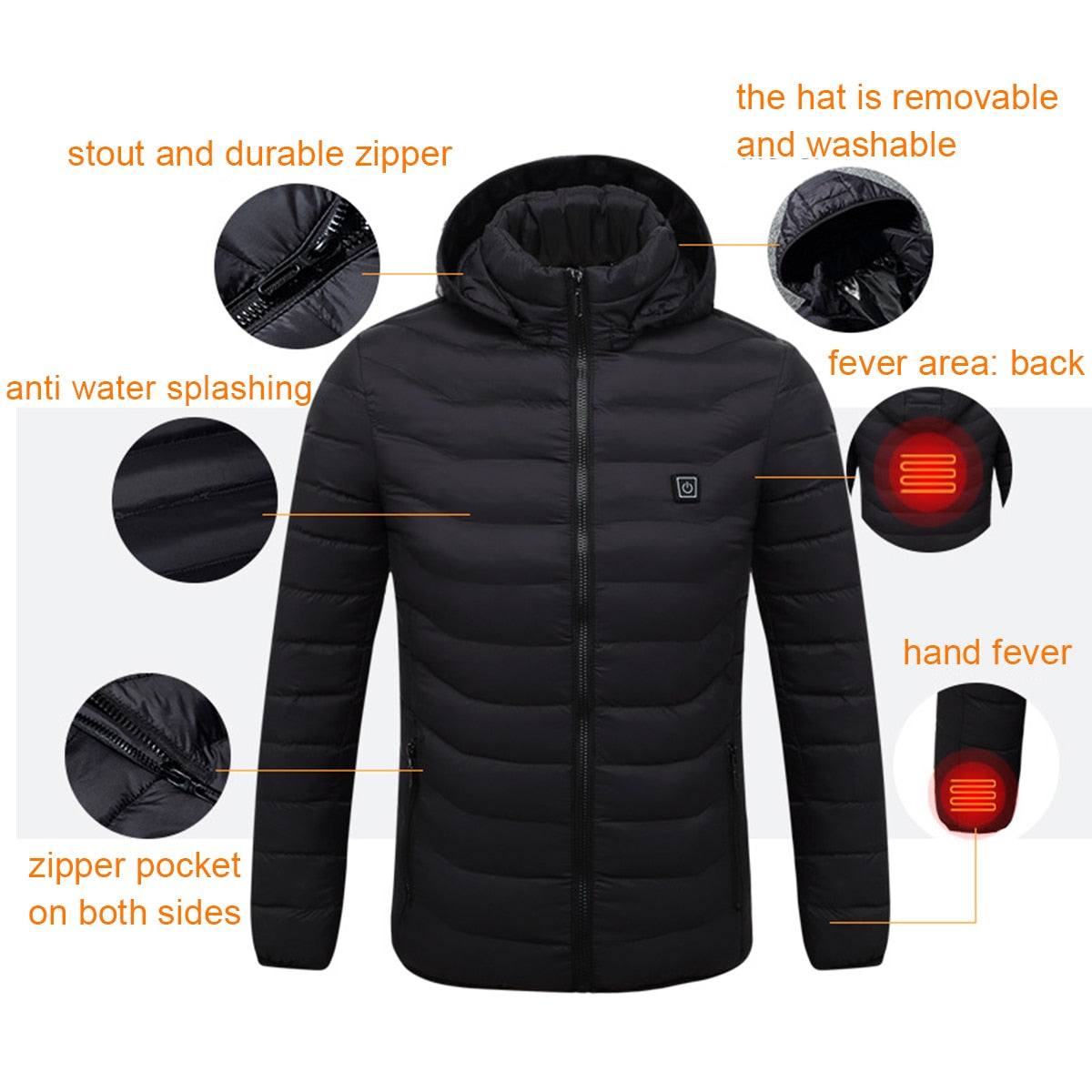 Men's Winter Heated USB Hooded Work Jacket