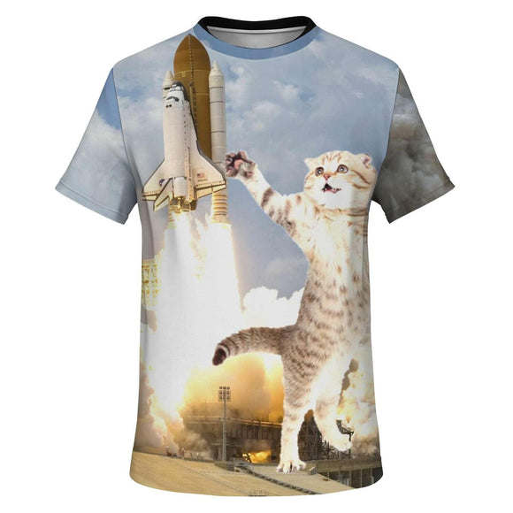 Cat And Rocket Unisex Crew Neck All-Over 3D Printed Tee - Virginia Lee