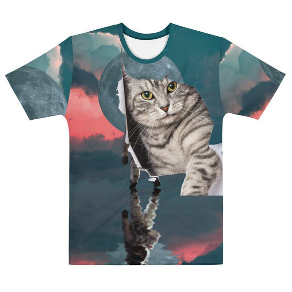 Astronaut Kitty Breaking The Fourth Wall Men's Crew Neck T-Shirt 3D All Over Printed Gift for Cat Lovers - Virginia Lee