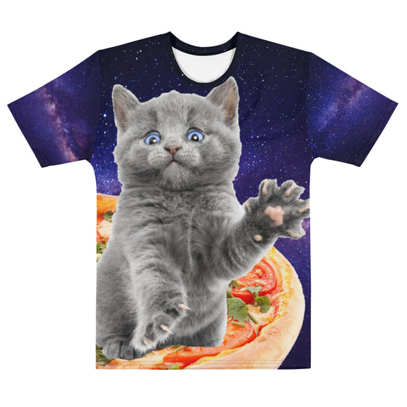 Pizza Space Gray Kitten Men's Crew Neck T-Shirt 3D All Over Printed Gift for Cat Lovers