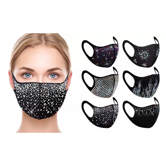 Rhinestone Holiday Bling Face Masks - 6 Pack