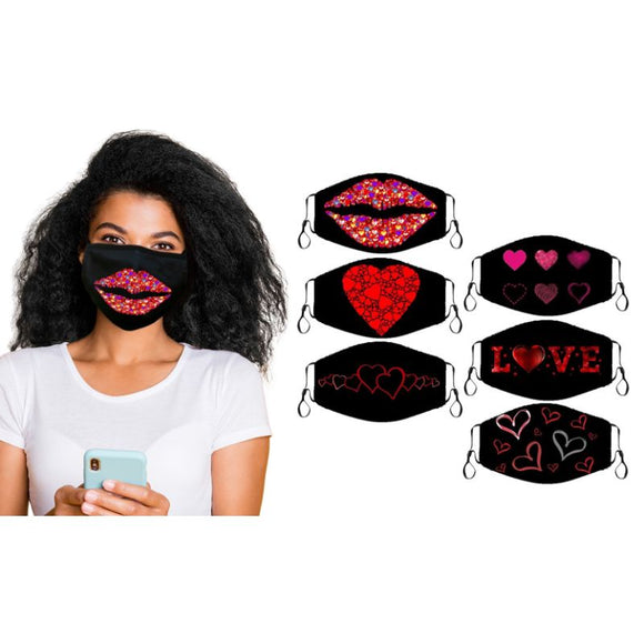 Valentines Fun Super Soft Reusable Non-Medical Face Masks -6 Pack