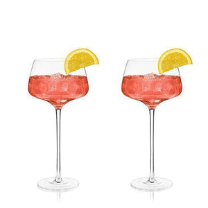 Angled Crystal Amaro Spritz Glasses (Set of 2)-Viski-Dramson