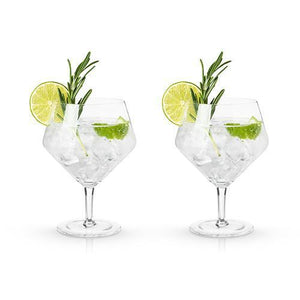 Angled Crystal Gin & Tonic Glasses (Set of 2)-Viski-Dramson