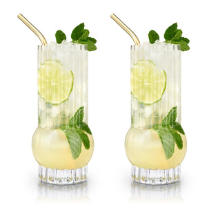 Deco Crystal Highball Glasses (Set of 2)-Viski-Dramson