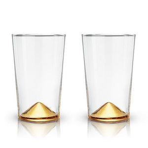 Gold Pointed Glass Cocktail Tumblers (Set of 2)-Viski-Dramson