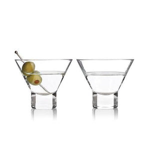 Heavy Base Crystal Martini Glasses (Set of 2)-Viski-Dramson