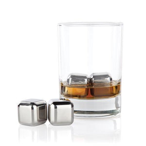 Bar Ice-Metal Ice Cubes-Small Stainless Steel Cubes (Set of 4)-Viski-Dramson
