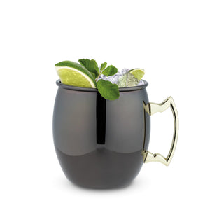 Black Moscow Mule Mugs with Gold Handle (Set of 2)-TRUE-Dramson