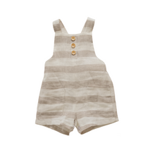 Load image into Gallery viewer, Oat Stripe Linen Dungarees