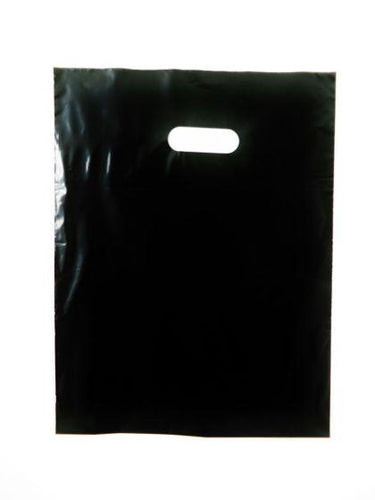 Black Plain LDPE Die Cut Handle Bag (12