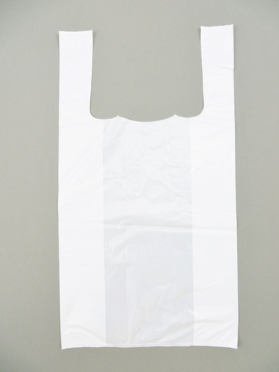 Standard Plain White T-Shirt Bag (1/8 BBL - 10