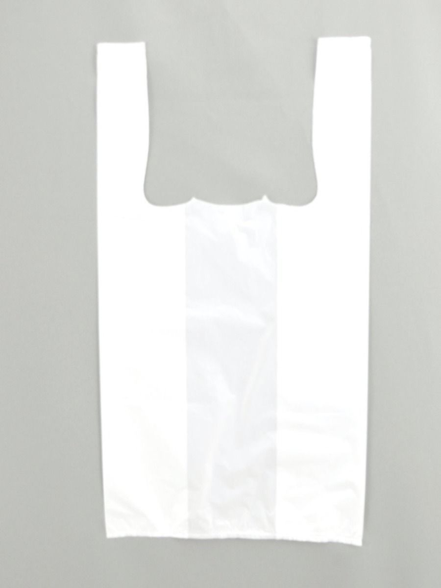Unprinted White T-Shirt Bag (1/10 BBL - 8