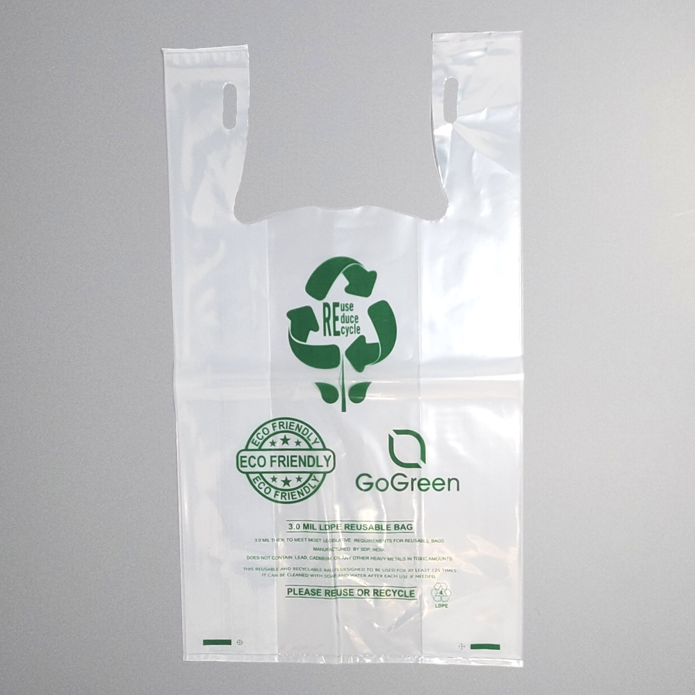 Eco Friendly Thick Reusable T-shirt bag. 1/6 BBL (11.5