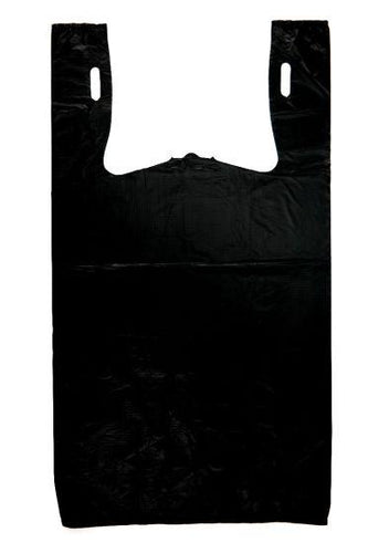 Black Plain Embossed T-Shirt Bag (1/6 BBL - 11.5