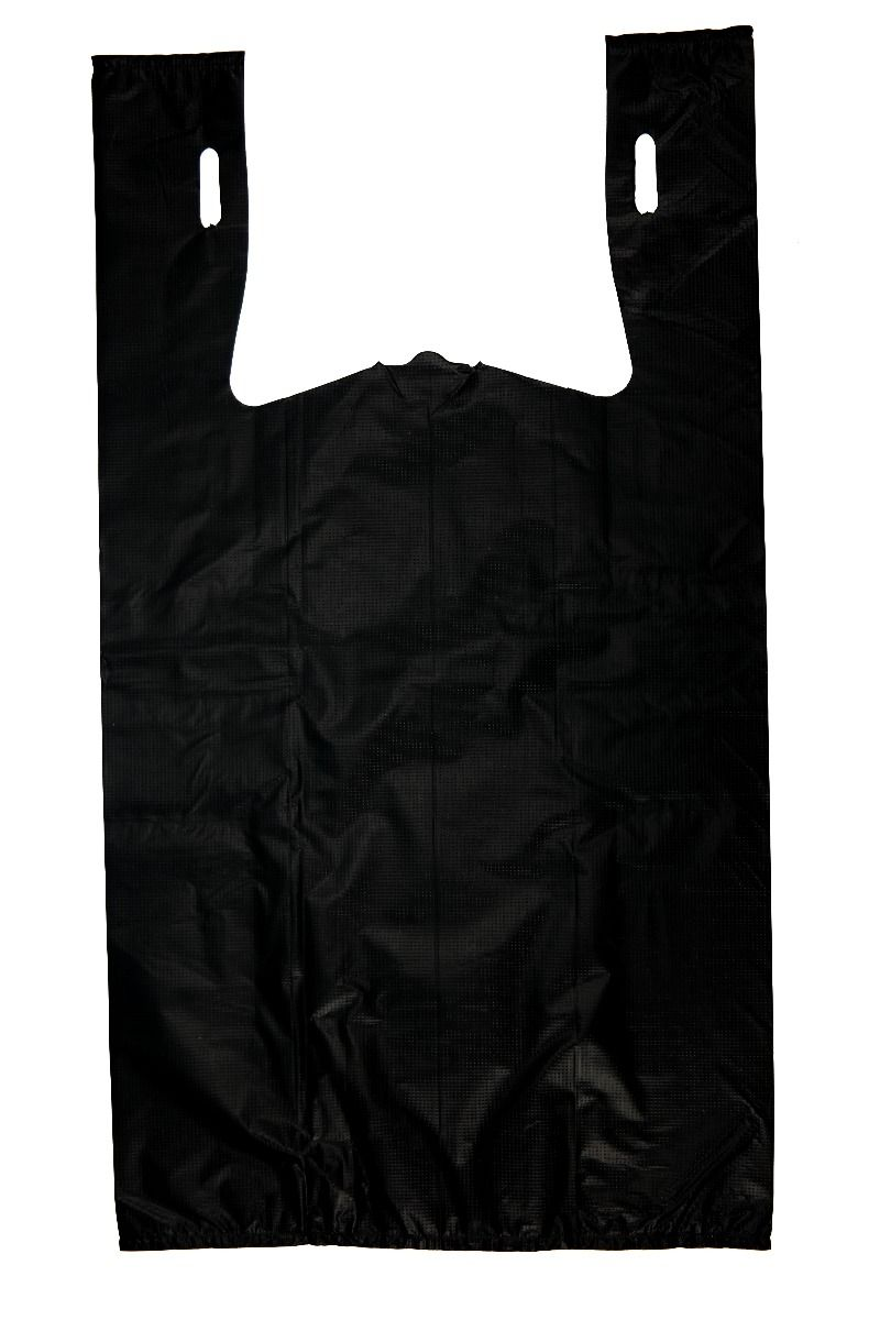 Extra Heavy Duty Plain Black T-Shirt Bags Embossed (1/6 BBL - 11.5