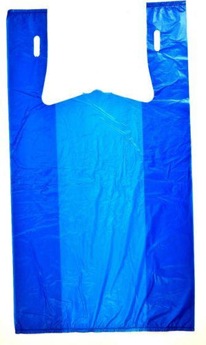 Blue Plain Embossed T-Shirt Bag (1/6 BBL - 11.5