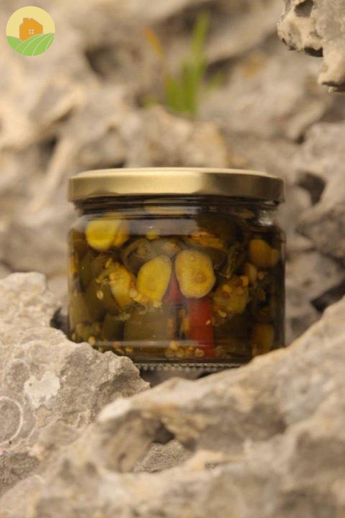Pickled Hot Peppers with Garlic - كبيس حر بالثوم - From The Villages