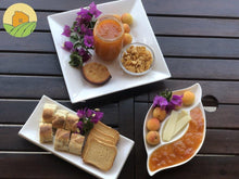 Load image into Gallery viewer, Apricot jam served with toast, baguette, cupcake, cereals, butter and fresh apricots fruit.