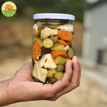Load image into Gallery viewer, Mix of pickled cucumbers, Armenian cucumbers, carrots, hot pepper, green pepper and cauliflower.