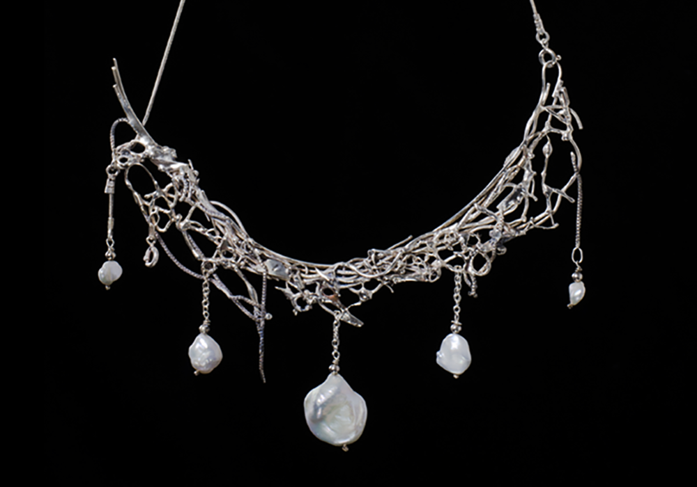 Baroque pearls and recycled silver necklace