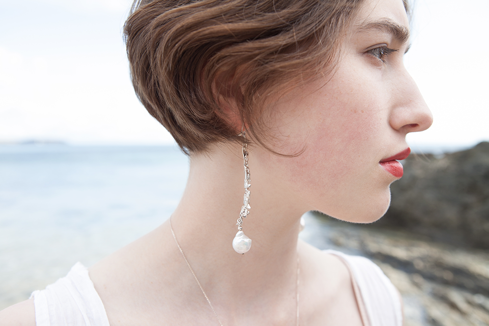 Iola- Recycled silver and baroque pearl earrings
