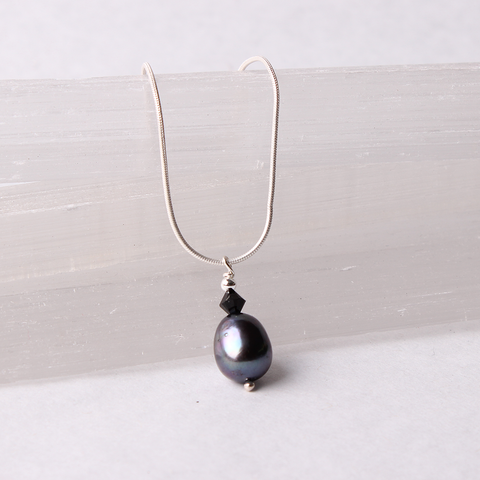Black Drop Pearl  Pendant with Swarovski Crystal