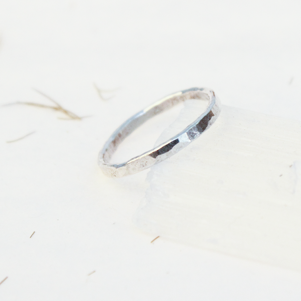 Hammered Silver Ring 2mm