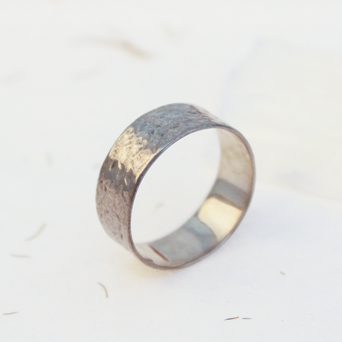 Hammered Silver Ring 7mm