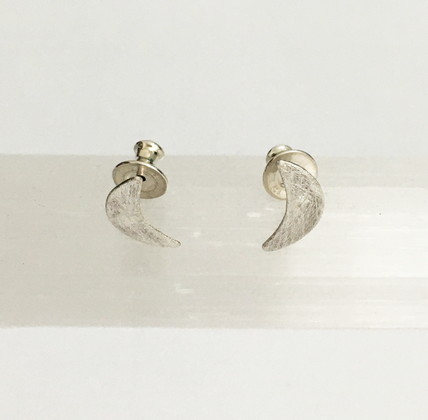 Silver Crescent Moon Studs
