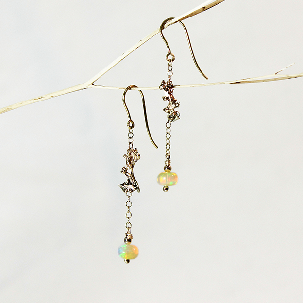 Opal and Gold Earrings