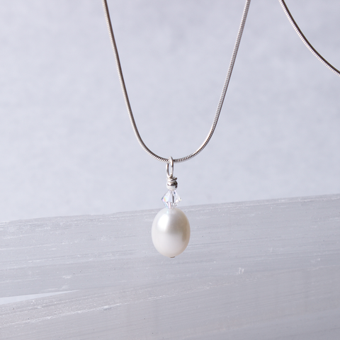 White Drop Pearl  Pendant with Swarovski Crystal