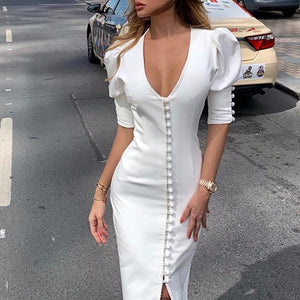 Single breasted bodycon dress women Puff sleeve v neck sexy party dress Elegant ladie tight workwear white dresses midi vestidos