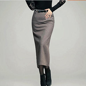 XS-5XL!!autumn winter New women skirt woolen high waist ol slim long pencil skirt