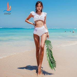 SANQi swimsuit female split flat angle two-piece hot spring small fragrance sexy student slim swimsuit wenman swimwear