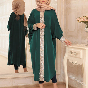 A new 2019 Muslim gown with sequined loose-fitting dress with sleeves tucked at the fron