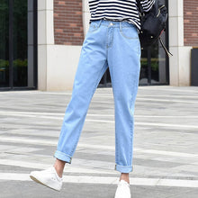 Load image into Gallery viewer, new women 2020 brand fashion jeans black white blue harem pants washed denim pants female loose casual jeans vintage mom jeans