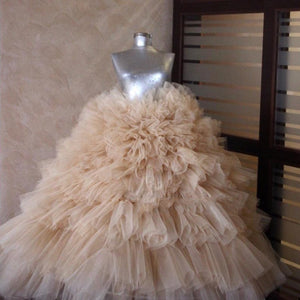 Real Image Champagne Puffy Ruffles Tiered Tutu Ball Gowns Elastic Custom Made Long Women Tulle Skirt Bridal Skirt