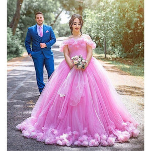 Princess Puffy Ball Gown Quinceanera Dresses 2019 Pink Tulle Masquerade Sweet 16 Dress Backless Prom Girls vestidos de 15 anos