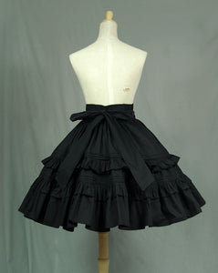 Black Vintage A line Skirt Short Lolita Skirt with Layered Ruffles by Lace Garden