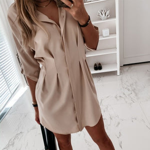 Korean Pleated Casual Women's Shirts Solid White Tunic Midi Sleeve Long Loose Shirt Female 2020 Summer New Fashion Ladies Tops