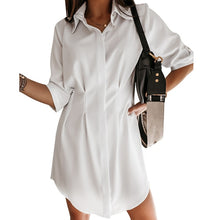 Load image into Gallery viewer, Korean Pleated Casual Women's Shirts Solid White Tunic Midi Sleeve Long Loose Shirt Female 2020 Summer New Fashion Ladies Tops