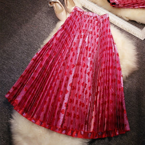 New   pound gold and silver shiny  love pink peach pleated skirt    female