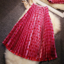 Load image into Gallery viewer, New   pound gold and silver shiny  love pink peach pleated skirt    female