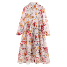 Load image into Gallery viewer, Fashion Chiffon Pattern Dresses Female Elegant High Waist Suit Dress Vestidos Vintage Floral Print Casual Loose Long Dress